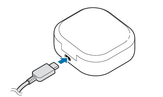 charge Galaxy Buds Live through a USB cable: connect to a USB charger