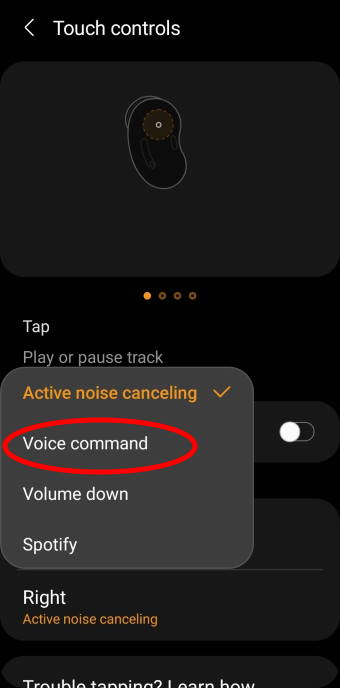 customize the tap and hold (long tap) gesture for touch control on Galaxy Buds Live