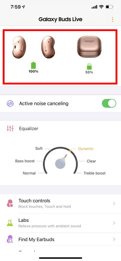 Galaxy Buds Live battery level in Samung Galaxy Buds app in iPhone