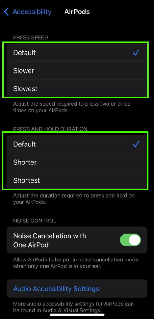 Customize the press speed and press duration of the Force Sensor on AirPods Pro.